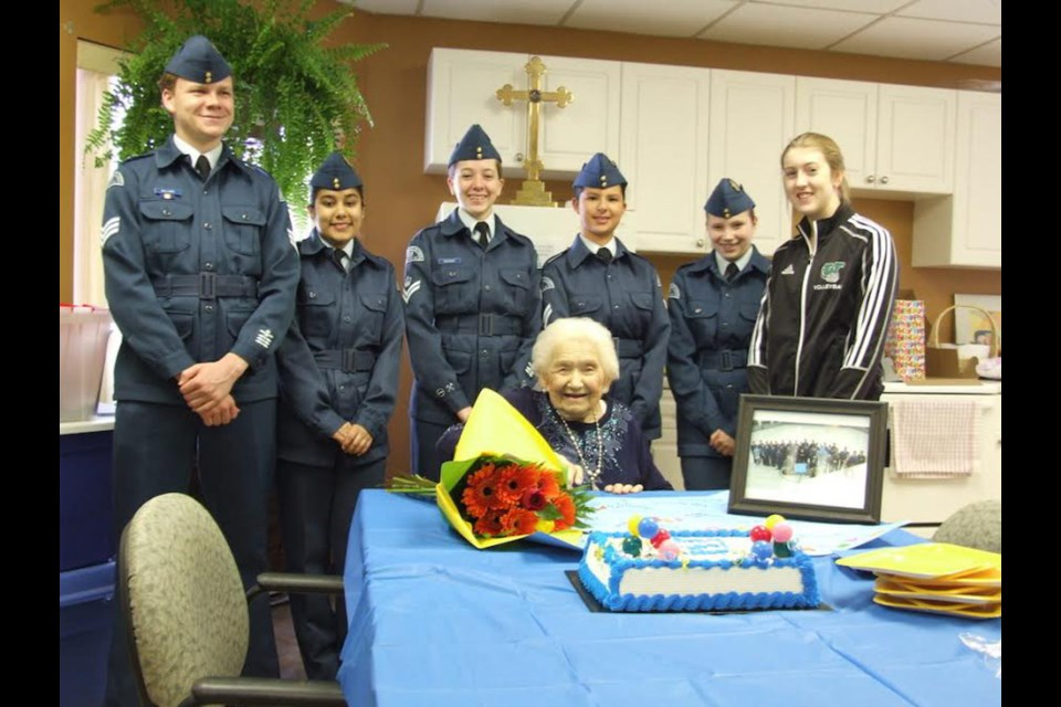 Lucy Healey with air cadets on her 100th birthday. Photo by Steven Mullins.