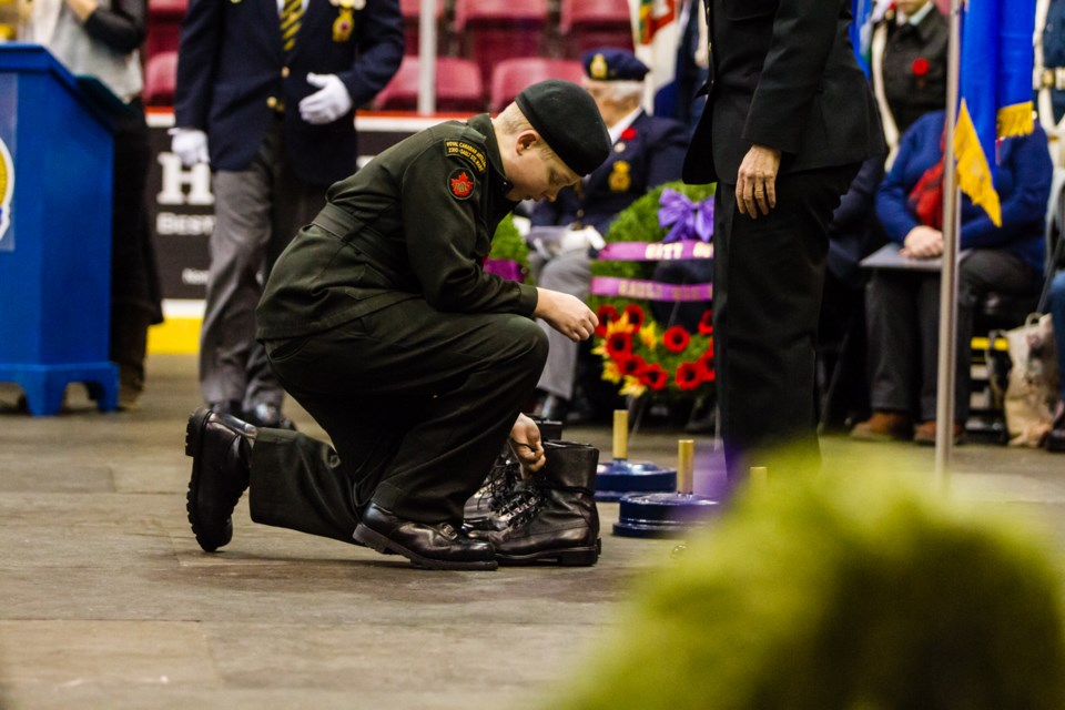 Cadets placed 100 pairs of boots to mark the 100th anniversary of the end of the First World War as part of the Remembrance Day Ceremony. Donna Hopper/SooToday