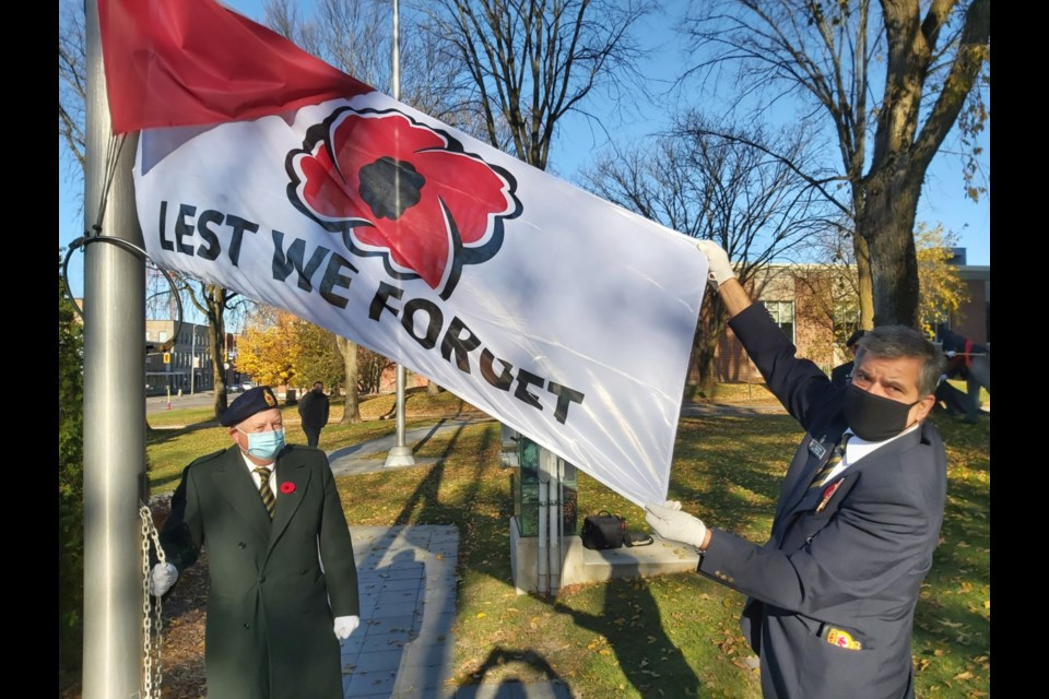 Royal Canadian Legion Branch 25 members, veterans and local elected officials attended the launch of the 2020 Poppy Campaign at the Cenotaph near the Sault Ste. Marie Courthouse, Oct. 30, 2020. Darren Taylor/SooToday