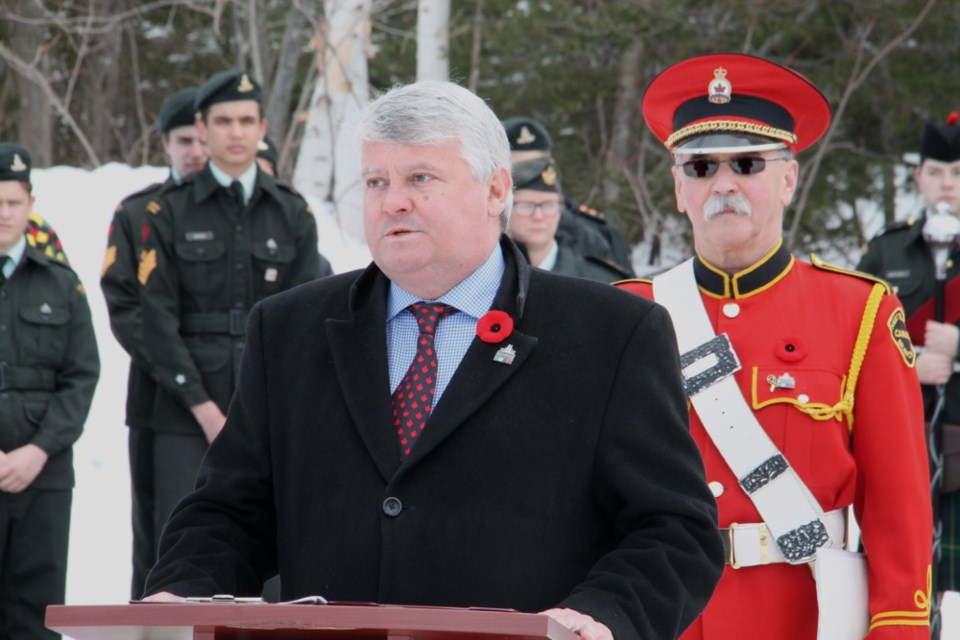 Sault Ste. Marie MP Terry Sheehan joined Royal Canadian Legion Branch 25 officials, Army, Navy and Air Cadets and the general public at a ceremony Sunday, Apr.8 2018 marking the 101st anniversary of Canada's historic military victory at Vimy Ridge in the First World War. This year's ceremony took place at Greenwood Cemetery, where a Vimy Oak sapling, planted by the Legion last fall, was officially dedicated. The sapling is directly descended from the oak trees which grow at Vimy. Darren Taylor/SooToday