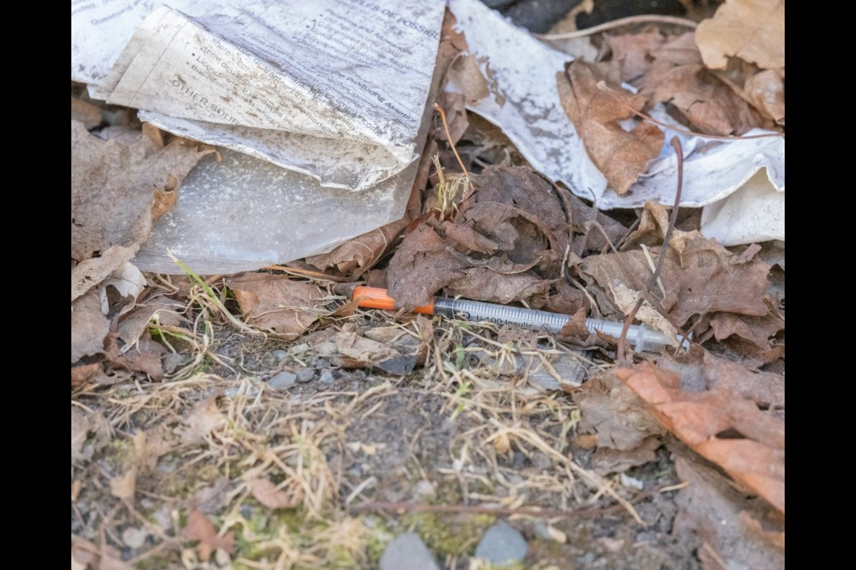 A used syringe found during Addiction and Mental Health Advocates downtown cleanup on April 2, 2021.