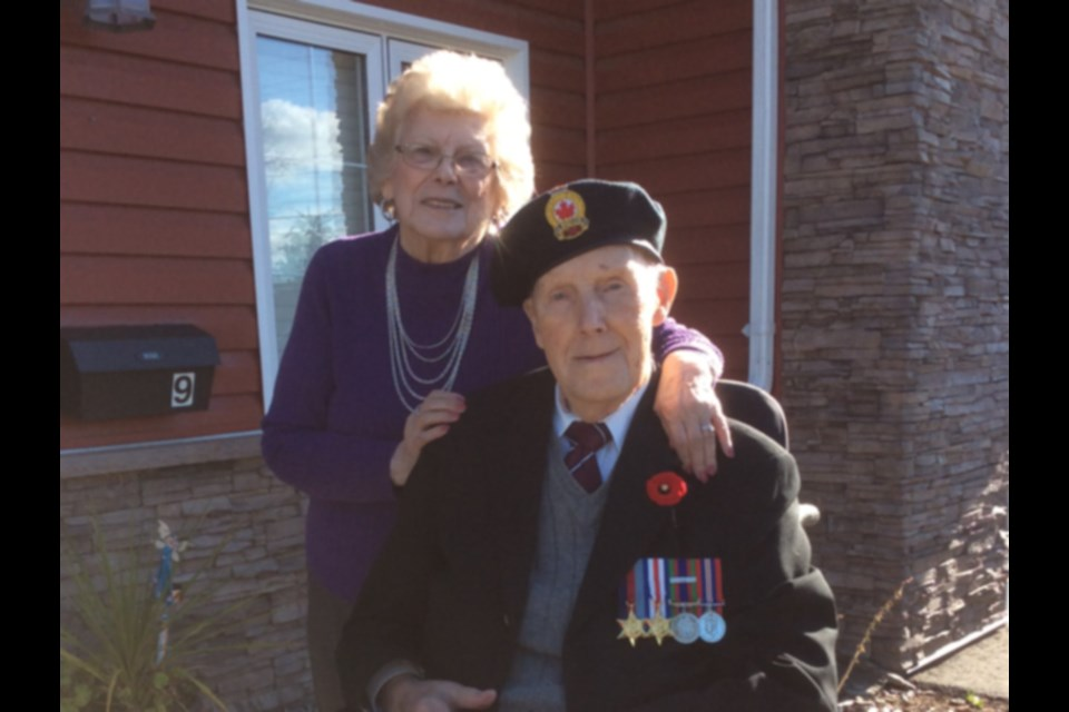 Dorothy and Robert Bonell on Remembrance Day. Bonell is a Second World War veteran who served three years overseas. The Bonnells celebrate their 75th wedding anniversary May 9.