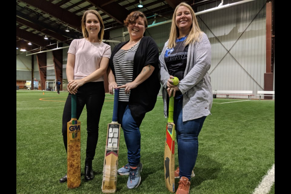Sault College staff members Krista Gridzak, Katie Campbell and Jessica Barbet at the First Annual Cricket Showdown held at the Northern Community Centre, Nov. 9, 2019. Darren Taylor/SooToday