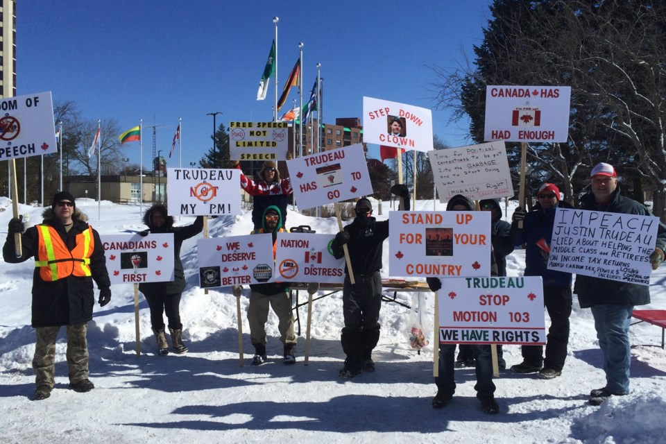 Freedom March demonstration at Sault Ste. Marie City Hall. March 4, 2017. Photo by David Helwig/SooToday