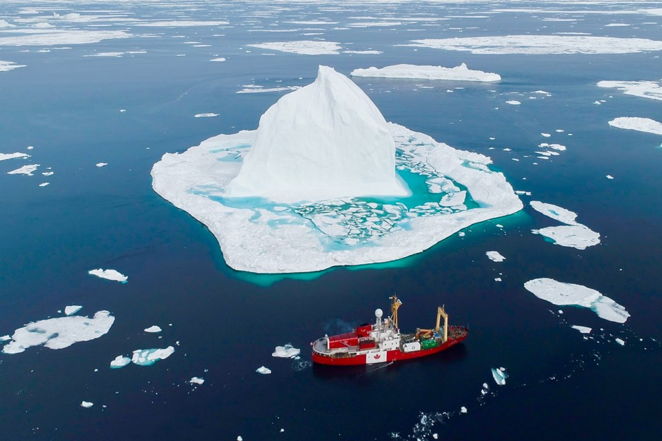 An aerial drone photo of the Canada C3 ship as it travels around an iceberg in the Canadian arctic. Sault-raised Ryan Rizzo of Poesis Media Syndicate has been doing drone photography of Canada's Northwest Passage while on a cross-Canada journey with the expedition Canada C3. Image Supplied