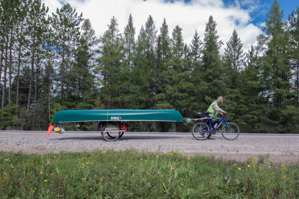Mitchell Nelson, 57, is travelling across Canada by canoe and bicycle. Jeff Klassen/SooToday