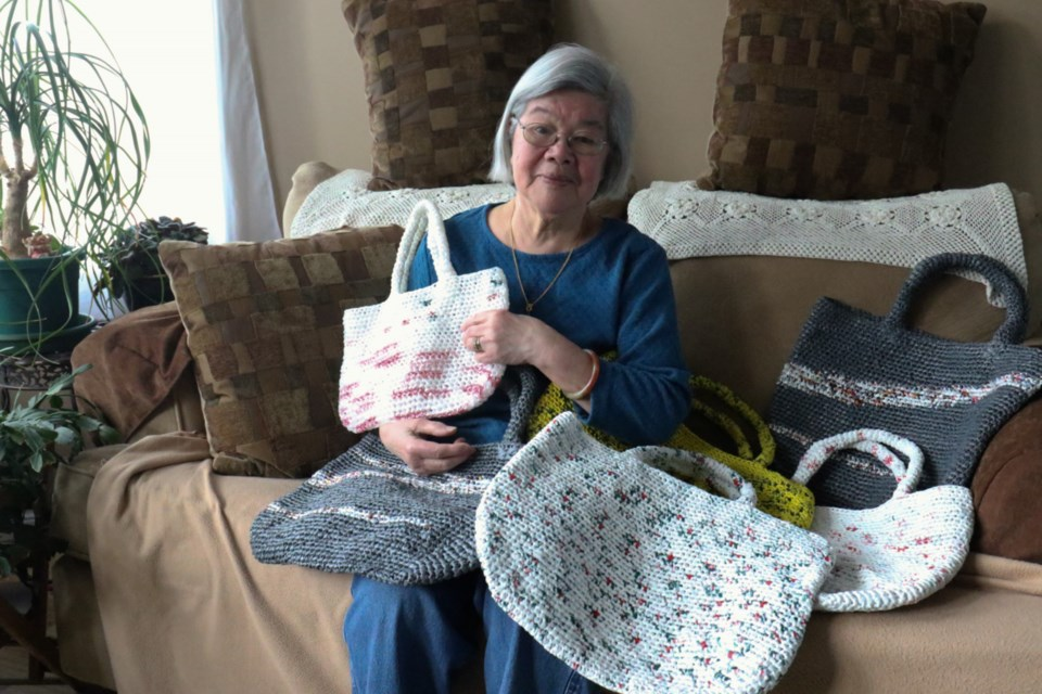 Yuet Jin has been crocheting handbags using recycled plastic shopping bags and selling them to the public. A portion of the proceeds will be donated to SOYA (Save Our Young Adults from Prescription Drug Abuse).
