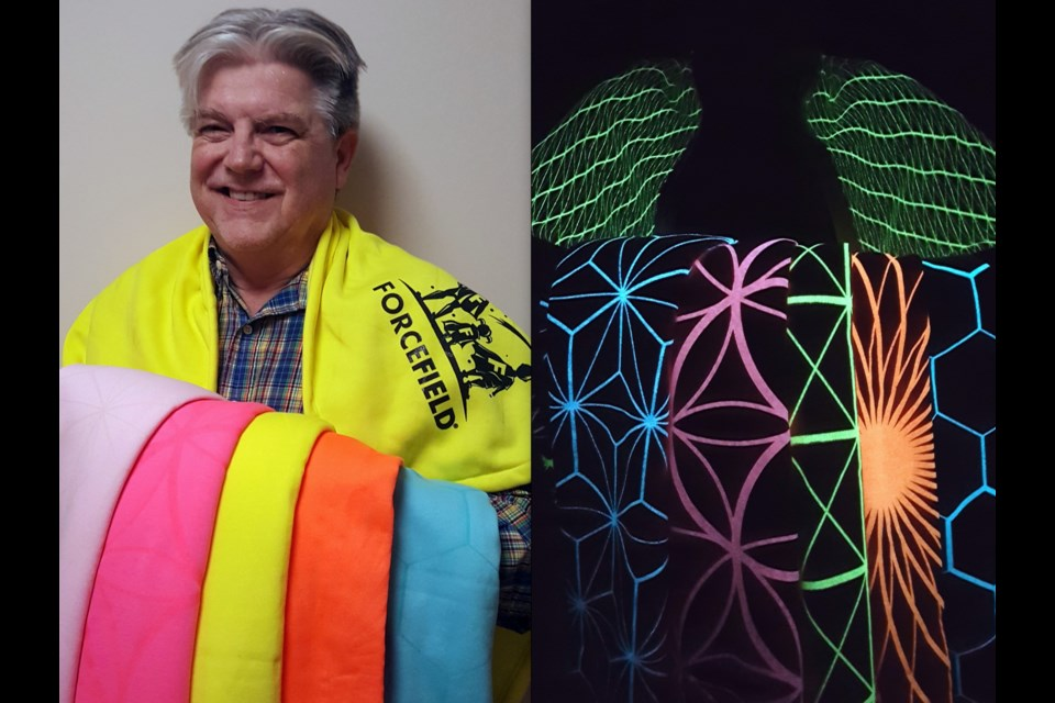 Terry Sachetti and his five Force Field Cloak designs with lights on and off. Sachetti, who is from Sault Ste. Marie, came up with the idea in the 1980s and now, in 2017, is finally getting the cloaks out to the public. Image supplied