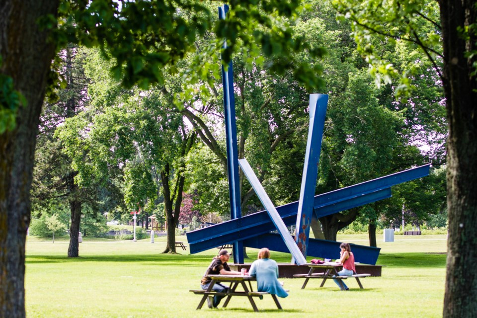 Algoma Blue, a monumental sculpture by Haydn Llewellyn Davies, stood on Toronto's waterfront for 20 years before being acquired by the Algoma Art Gallery in 2004