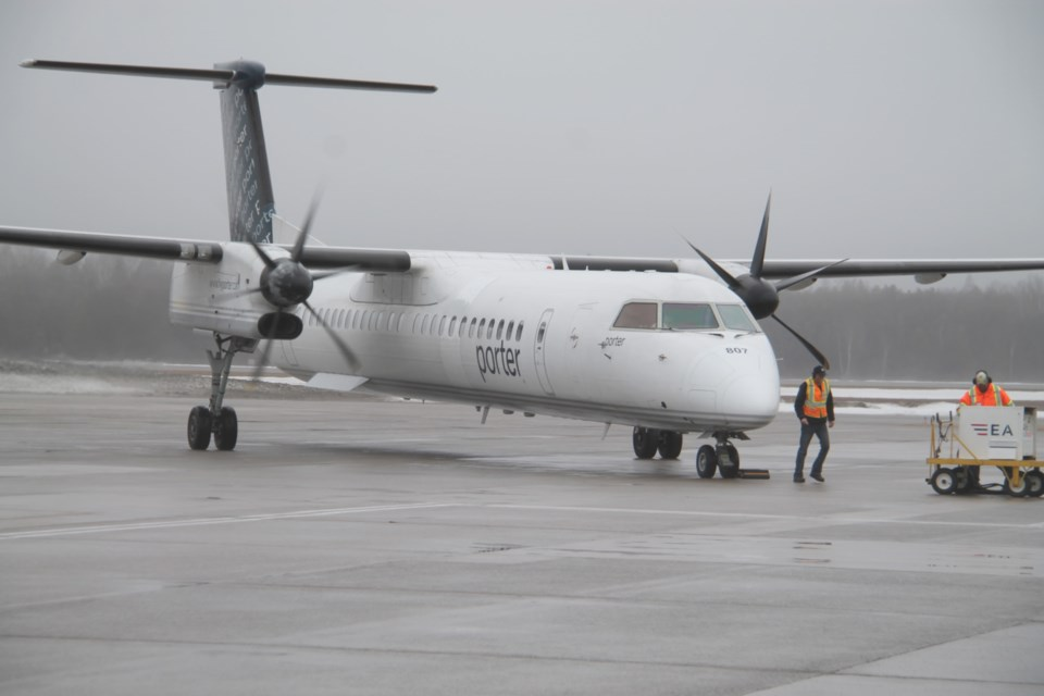 20190418-Porter plane lands at Sault Airport, Chrystia Freeland aboard-DT