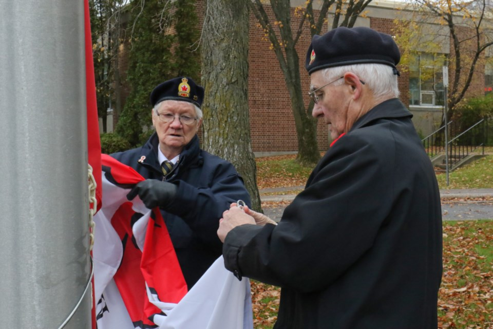 Members of the Royal Canadian Legion Branch 25 launched its annual poppy campaign at the Cenotaph Friday. James Hopkin/SooToday