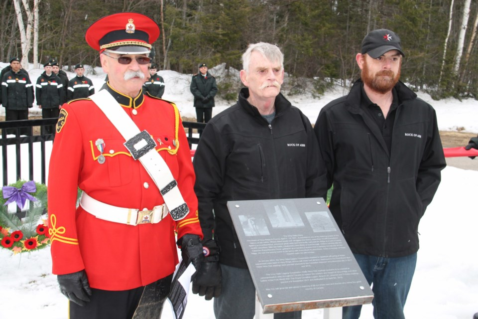 Lock City Monuments owner/operator Dave Cartmill and son/co-worker Craig Cartmill with Royal Canadian Legion Branch 25's 2nd Vice-President Ron Rouleau at the unveiling of a Vimy Ridge memorial plaque, donated by Lock City Monuments, at Greenwood Cemetery, April 13, 2019. Darren Taylor/SooToday