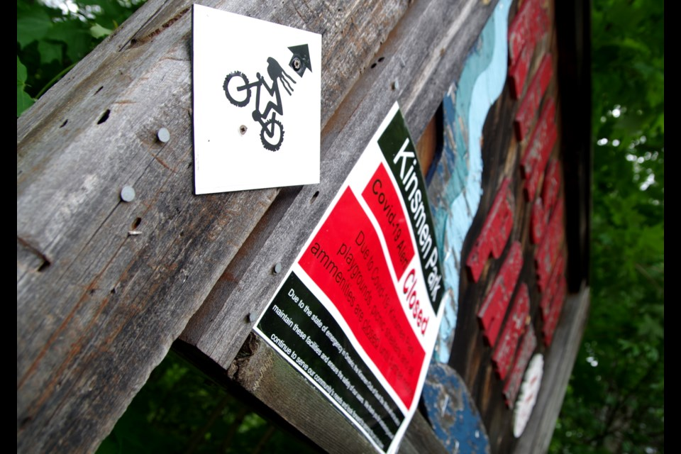Kinsmen Park's playground features, as well as the boardwalk to Crystal Creek Falls remain closed due to COVID-19