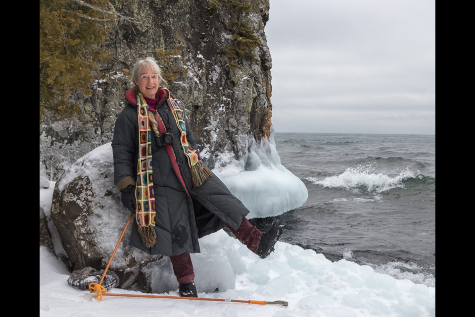 Ellen Van Laar demonstrating proper gear for the conditions which in this case included ice cletes and walking poles.  Violet Aubertin for SooToday