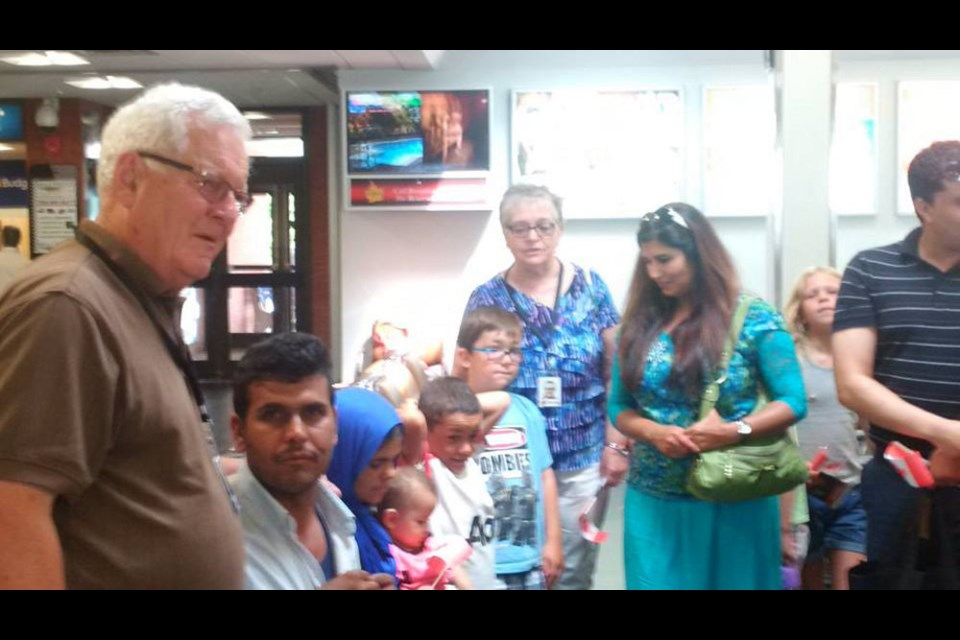 A Syrian refugee family is welcomed to Sault Ste. Marie, August 4, 2016. Photo from MP Terry Sheehan, Facebook