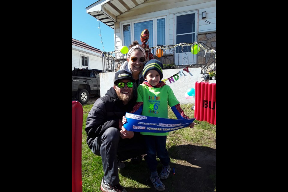 Jaxton Diotte celebrates his birthday by giving back to the community during COVID-19. Supplied photo