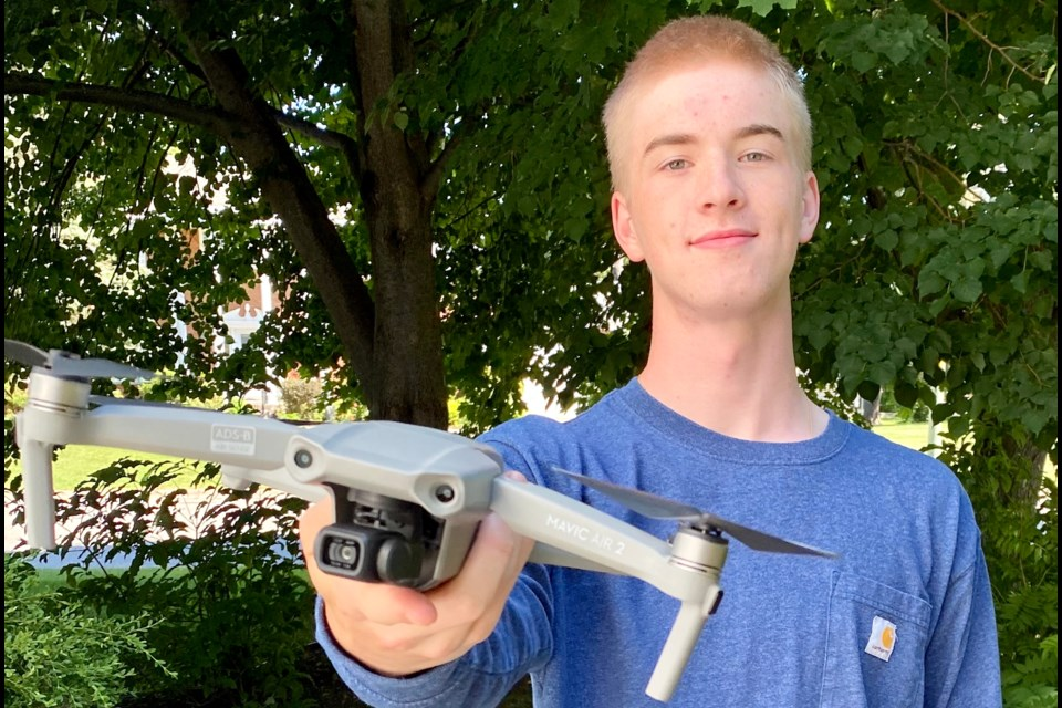 Thomas Irwin is trying his hand at professional drone photography this summer with a grant from the Summer Company Program. Photo supplied