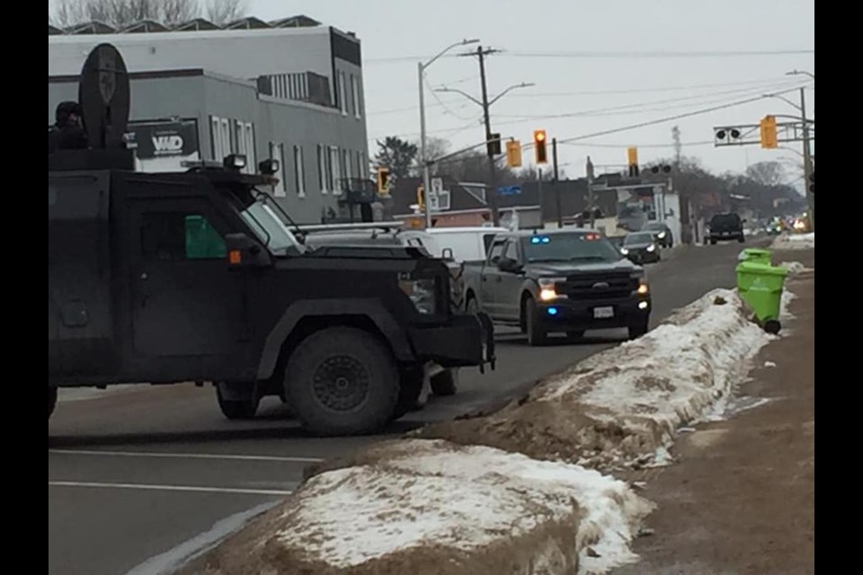 Police responded to a weapons call in the 200 block of Wellington West around noon on Wednesday, Jan. 13, 2021. Photo courtesy of Heather Goodmurphy