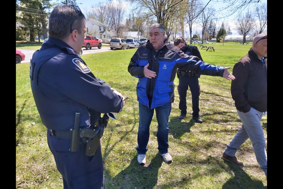 Police were on scene on Saturday and issued tickets during a protest at Bellevue Park.