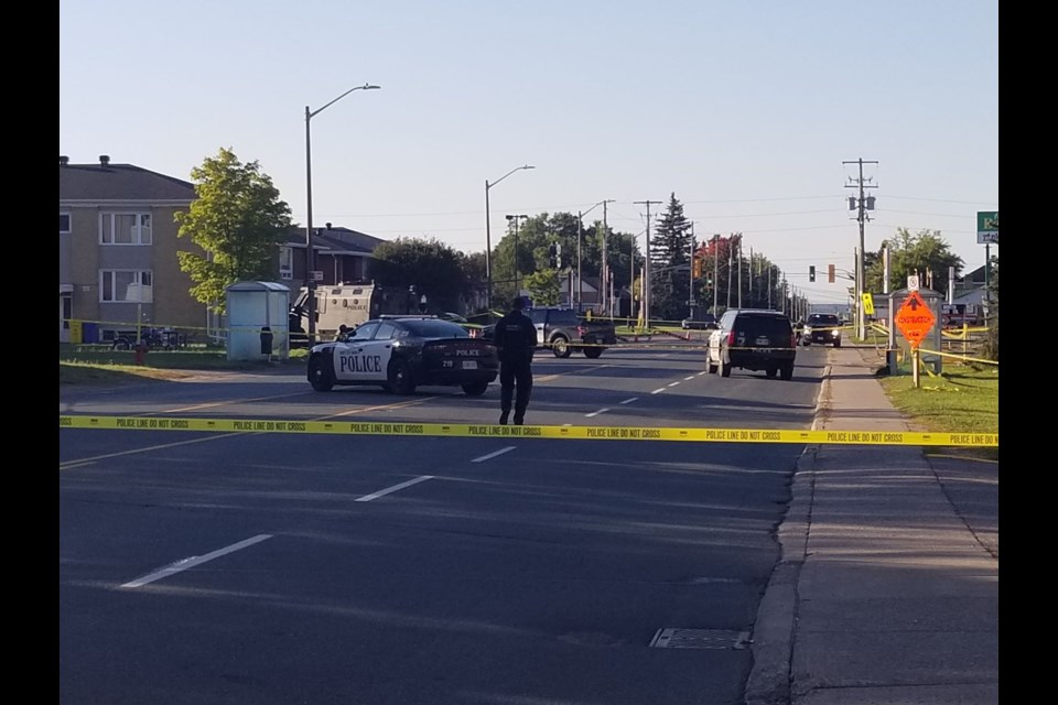 Police on the scene of a morning shooting on Pine Street on Sept. 19, 2021.