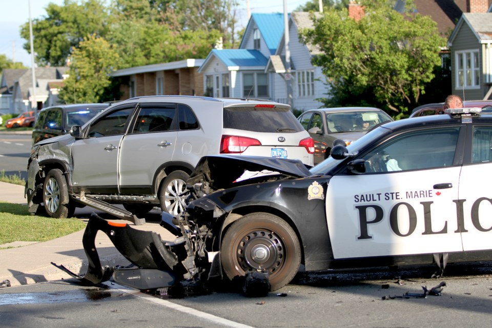The scene of a collision at the intersection of Pine Street and Wellington Street East on the morning of Tuesday, August 4, 2020. Donna Hopper/SooToday