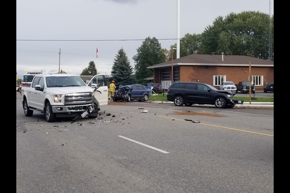 A collision on Second Line late Saturday afternoon resulted in heavy damage to three vehicles. James Hopkin/SooToday.