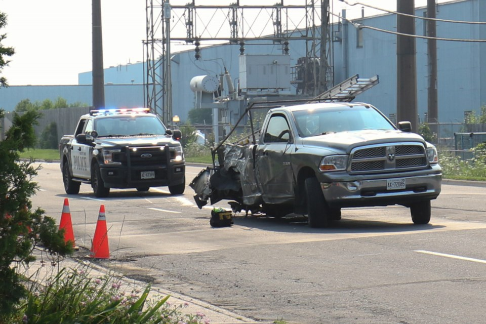 A pickup truck was badly damaged in a single-vehicle collision on Wallace Terrace near Second Avenue Sunday morning, leaving behind three damaged poles.