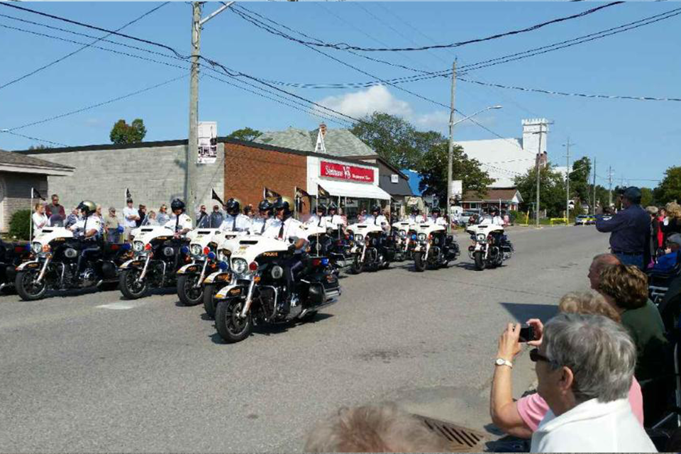 OPP Golden Helmets Precision Motorcycle Team shown in Thessalon on Sunday. Submitted photo
