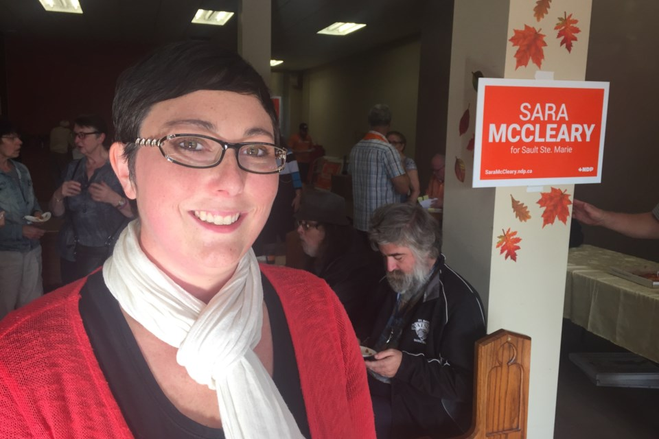 NDP candidate Sara McCleary at the opening of her federal election campaign headquarters. David Helwig/SooToday