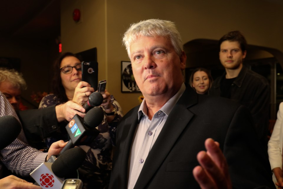 Re-elected MP Terry Sheehan speaks to media after winning the Sault Ste. Marie riding Monday night. James Hopkin/SooToday