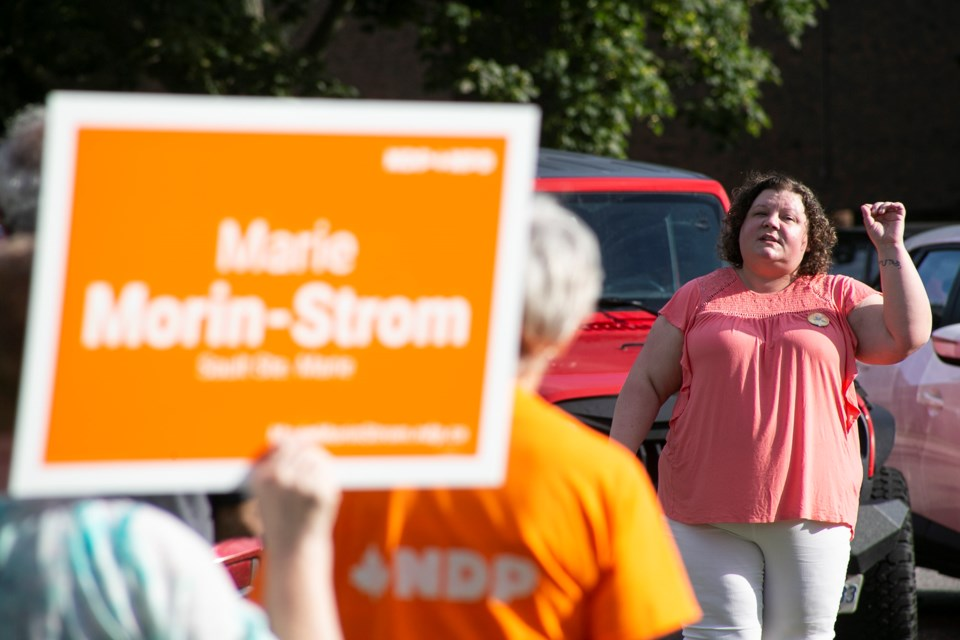 Local NDP candidate Marie Morin-Strom speaks during a rally held Friday at Clergue Park. Kenneth Armstrong/SooToday