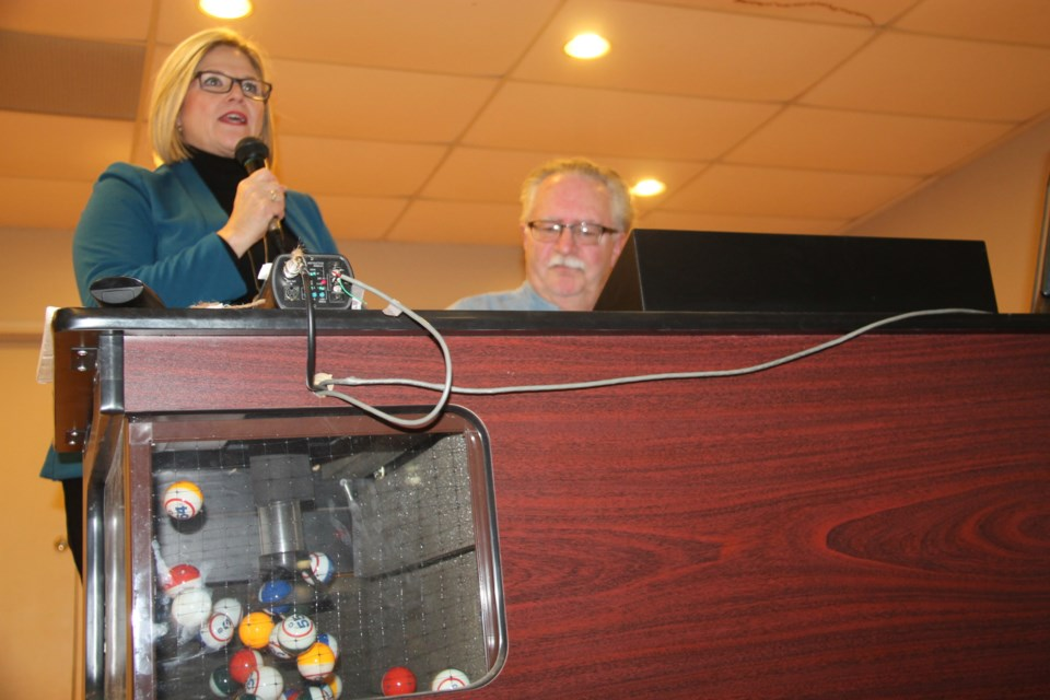 Andrea Horwath, Ontario NDP leader, calls bingo at Royal Canadian Legion Branch 25 while visiting Sault Ste. Marie, Jan. 5, 2017. Darren Taylor/SooToday