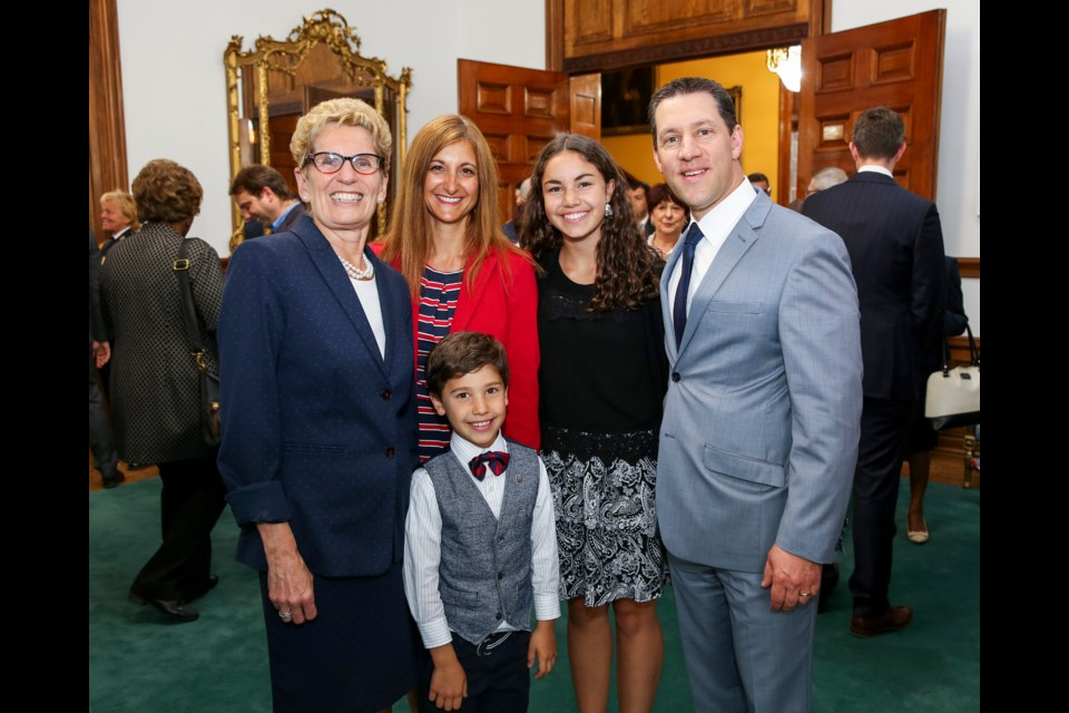 Premier Kathleen Wynne with Sault MPP David Orazietti, his wife Jane, daughter Olivia and son Alexander after Orazietti was sworn in as Community Safety and Correctional Services Minister, June 13, 2016. Photo supplied by Premier Wynne's office.