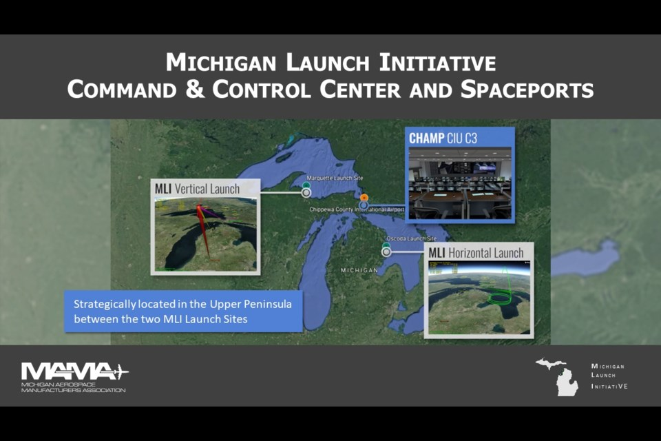 The proposed command and control centre in Chippewa County will serve satellite launch sites in Marquette County and Oscoda