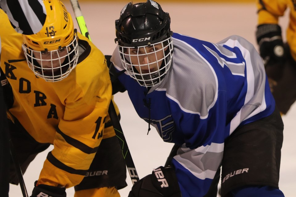 Action from Monday's high school hockey playoff game between the Korah Colts and Superior Heights Steelhawks. Brad Coccimiglio/SooToday