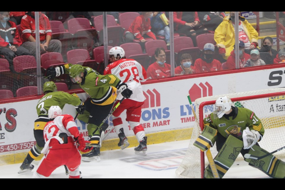 Action between the Soo Greyhounds and North Bay Battalion at the GFL Memorial Gardens on Oct. 8, 2021.