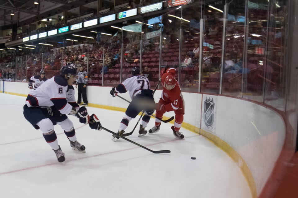 Action during Sunday's OHL exhibition game between the Soo Greyhounds and Saginaw Spirit at the Essar Centre. Jeff Klassen/SooToday