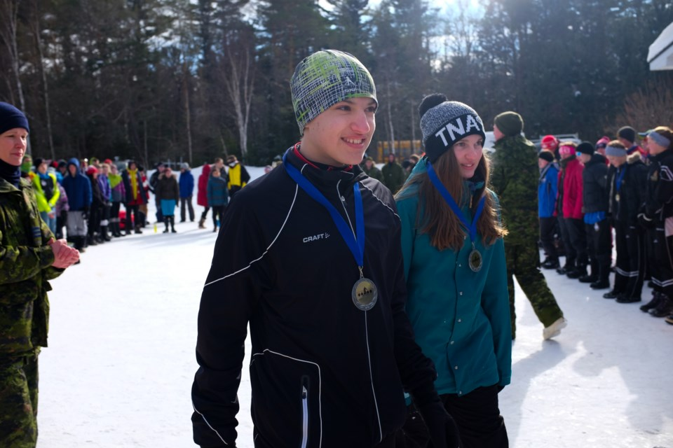 Sault Ste. Marie's Simon Beckett (left)  and Cassandra Breckenridge (right) won silver medals at the 2016 Cadet Biathlon Provincial Championship on Sunday. Photo by Jeff Klassen for SooToday