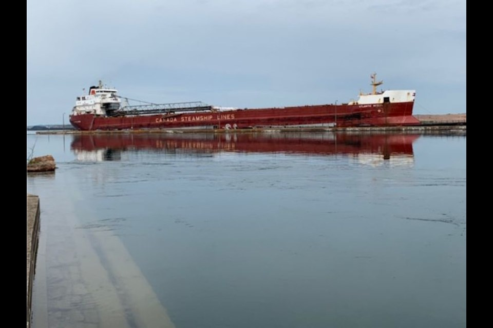 The Atlantic Huron is pictured after running into a pier at the Soo Locks on Sunday. U.S. Coast Guard photo