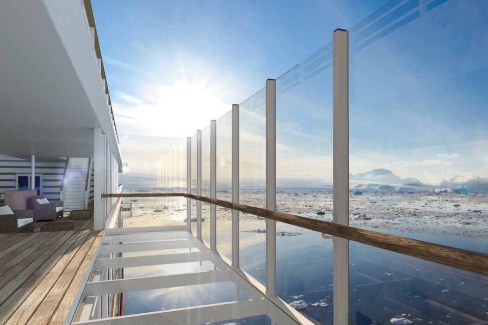 Hapag Lloyd's expedition-class cruise ship Hanseatic Inspiration is being built with glass-bottomed balconies. Image supplied.