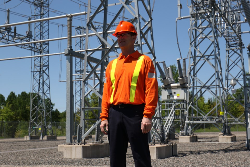 Hydro One President and Chief Executive Officer Mark Poweska announced $40 million in hydro infrastructure upgrades during a visit to the Third Line Transmission Station Tuesday. James Hopkin/SooToday