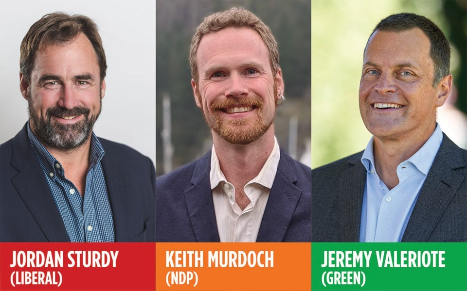 2020 provincial election candidates Jordan Sturdy, Keith Murdoch and Jeremy Valeriote.