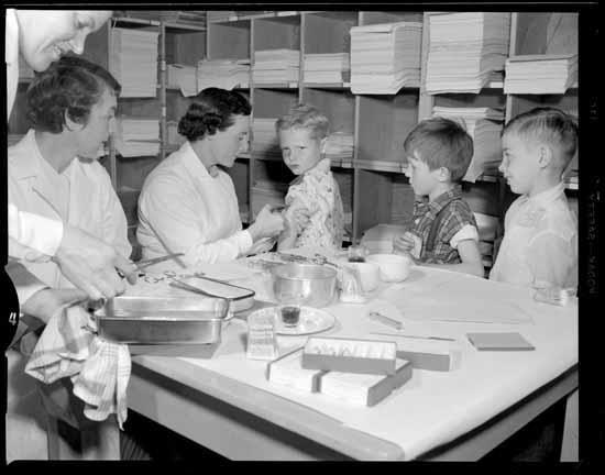 Children in Vancouver receive the Salk vaccine - April 1955.