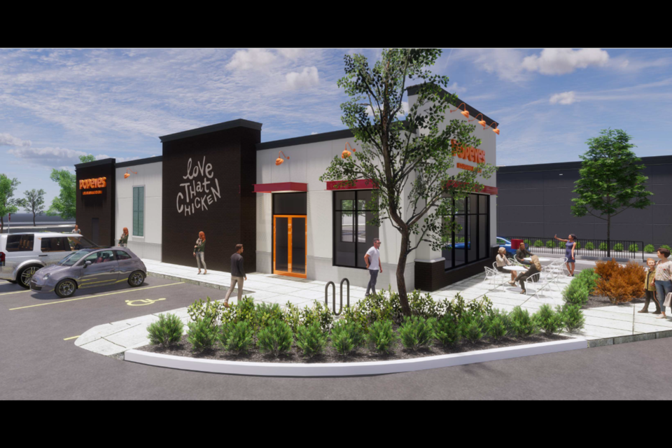 A rendering of the newest Popeyes that was built with Nexii building supplies.