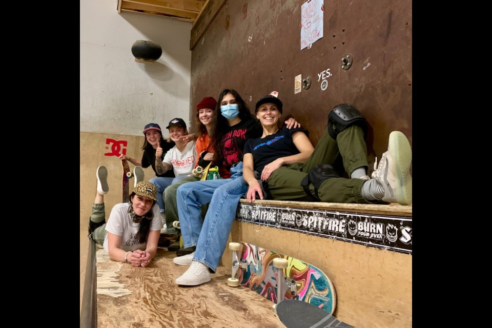 Sister Shredders at Airhouse on Thursday: (back to front) Emily Miller, Riley Oster, Sarah Wohlgemuth, Jas Hans, Kim Lamoureux and Kristal Robinson (below).