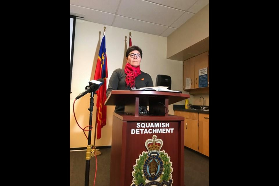 Cpl. Angela Kermer, of the Squamish RCMP addressing the media.