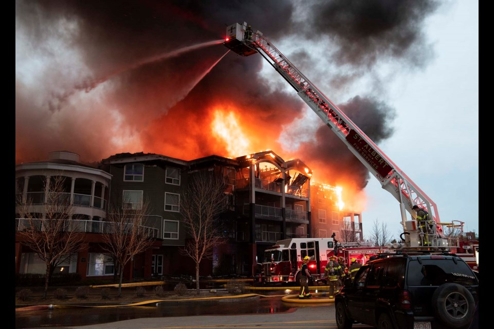 SUBSTANTIAL DAMAGE — The Citadel Mews fire destroyed much of the south half of the fourth floor and sent flaming debris crashing down on cars below. KEVIN MA/St. Albert Gazette