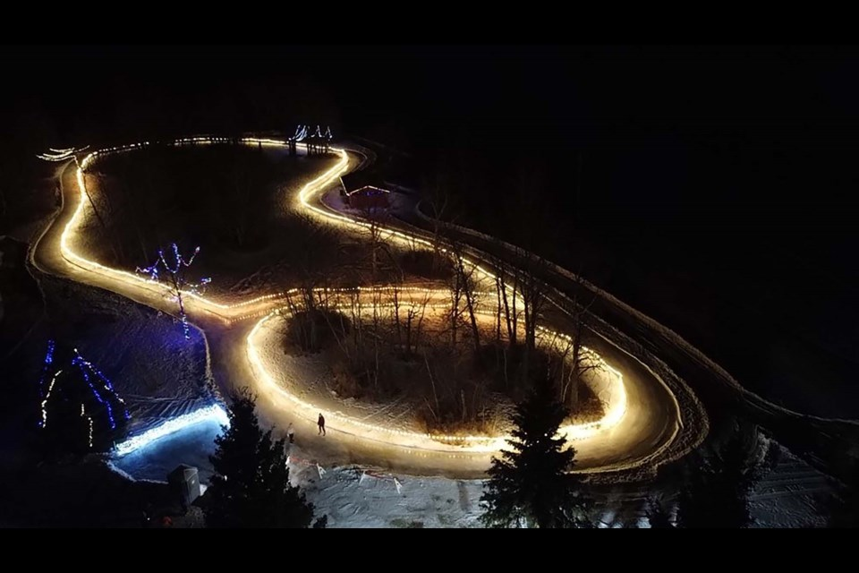 ICE LOOP — An aerial view of the Sturgeon County Skating Trail in Cardiff Park which opened Jan. 11, 2021. The free outdoor skating rink was illuminated and open to the public from 8 a.m. to 10 p.m. STURGEON COUNTY /Photo