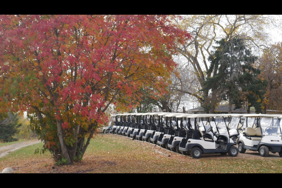 Individual golf carts, like these shown at Sandpiper golf course, were a priority this season to keep risk of transmission low during times of COVID-19. SYDNEY UPRIGHT/St. Albert Gazette