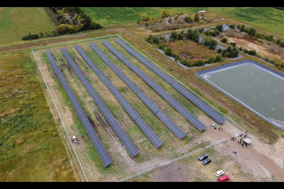 IT'S BIG — An aerial view of the new Bon Accord solar array. Each row of panels is about 144 m long and 4 metres high. Combined together, the panels would cover a little more than eight basketball courts. DANDELION RENEWABLES/Photo